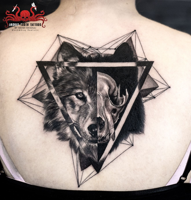 83a731553 Wolf skull tattoo by Mehdi Rasouli broken tooth tattoos | Tattoos ...