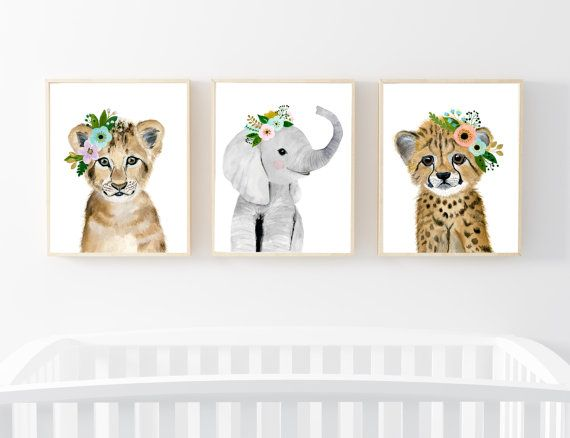 Lets make your little ones room warm and enjoyable!  Set of 3: This set includes portraits of elephant, lion, and cheetah.  If, however, youd like to swap any of them for a different piece in my shop, please give me a notice about which animals you want to swap it.   Materials: Printed on beautiful high quality, archival and acid free velvet fine art paper using professional Epson Ultra Chrome inks. Prints will be signed and dated on the back by me.  Size: Available in 4 sizes! (5x7, 8x10…