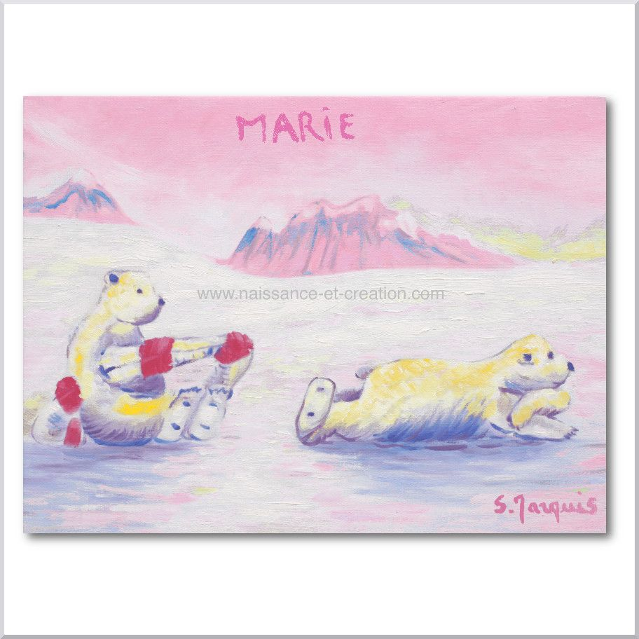 Ces ours polaires se prélassent sur la banquise. Tableau personnalisé bébé pour chambre de petite fille. Huile sur toile signée Sybille Marquis