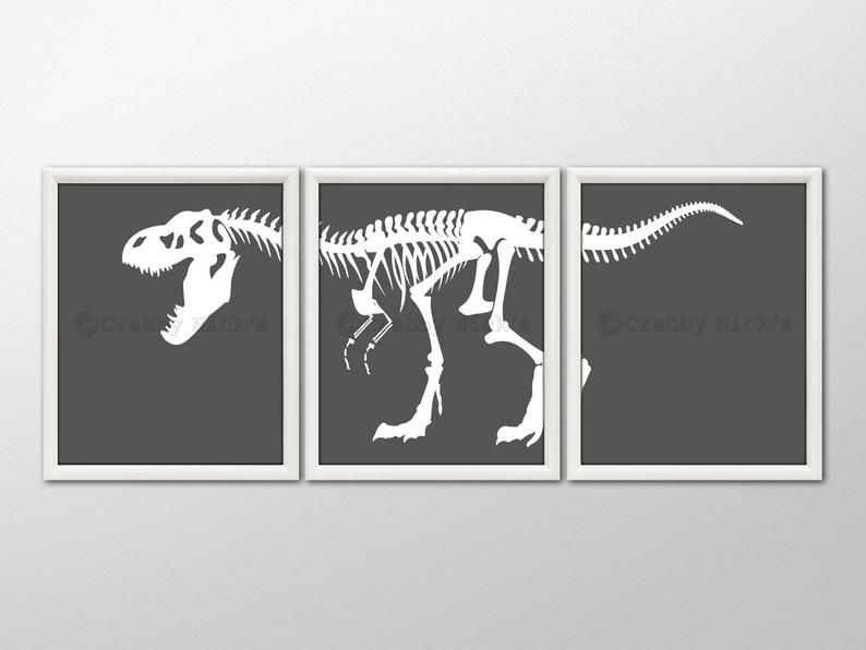 DINOSAUR Art Print - Dinosaur Wall Art, T-Rex Print, Dinosaur Bones