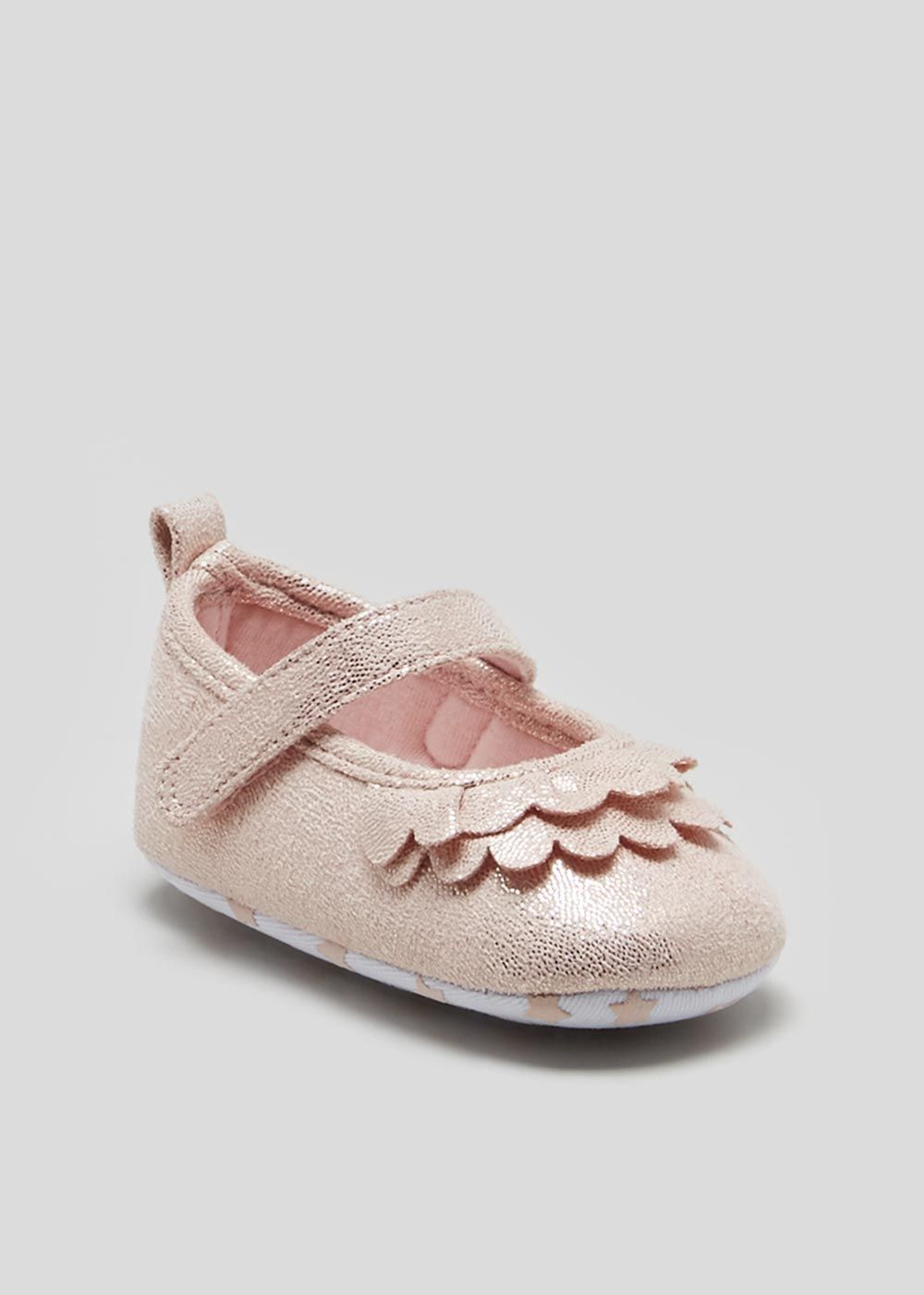 eccdcd3cba23 Girls Soft Sole Ruffle Baby Ballet Shoes (Newborn-18mths) – – Matalan