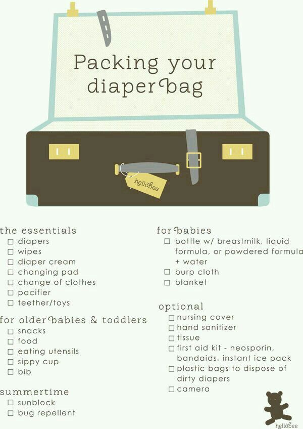 Diaper bag list For babies and toddlers baby essentials - newborn checklist
