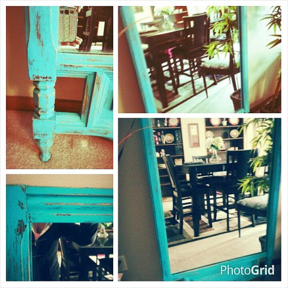 Wooden, Distressed, aqua floor mirror on Etsy, $40.00 | My NYC Apt ...