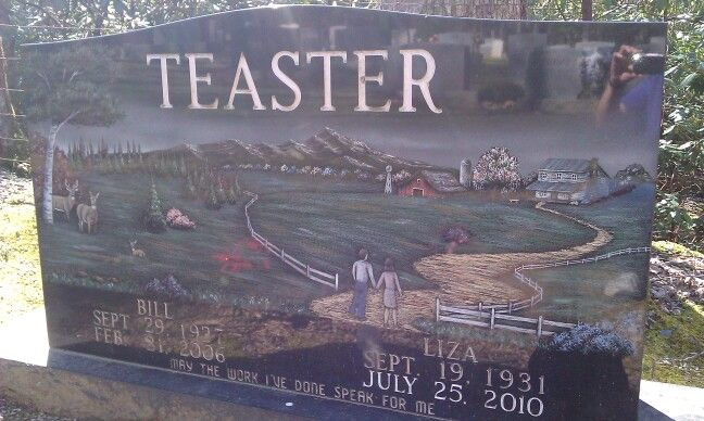 Beautiful Headstone of Bill  Liza Teaster