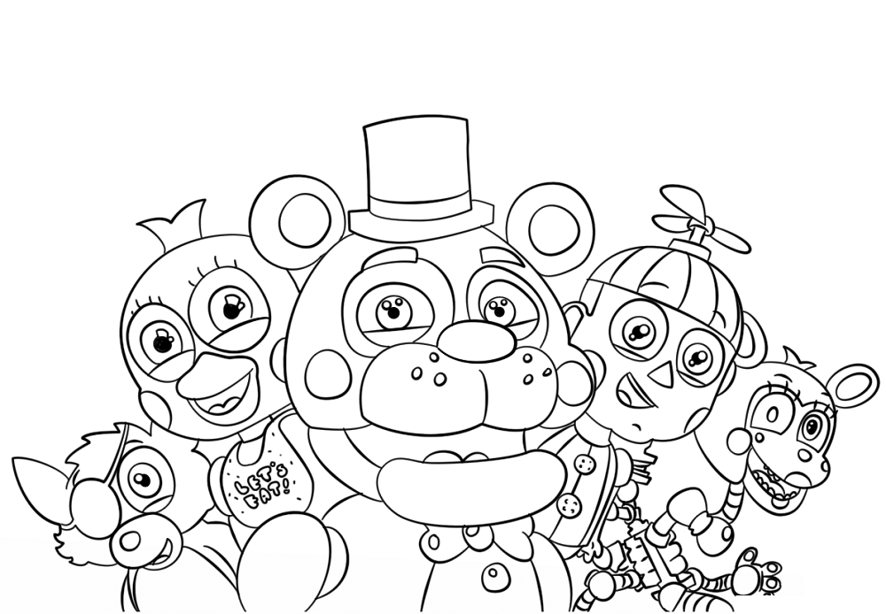 graphic regarding Free Printable Five Nights at Freddy's Coloring Pages titled 5 Evenings At Freddys Coloring Web pages Things Fnaf