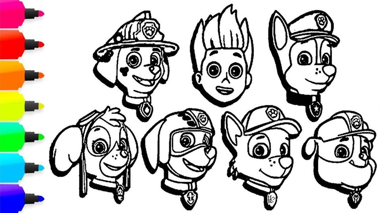 Paw Patrol Characters Coloring Pages Funny Learning Colors