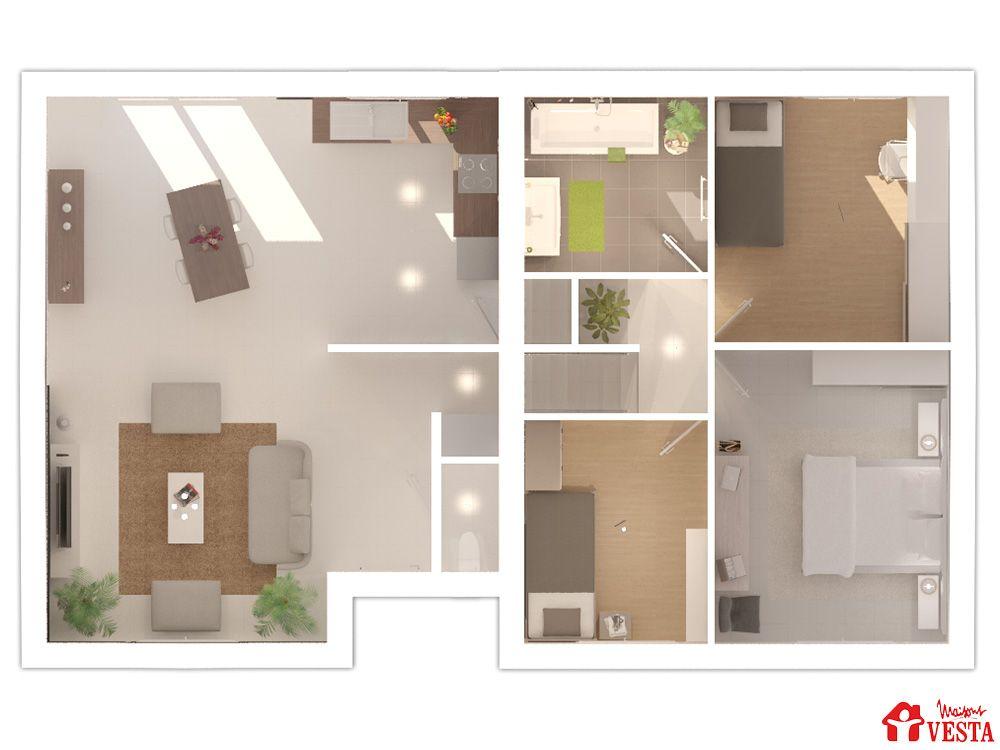 Maisons VESTA  plan du modèle Margarita (demi-niveau) F5 Surface