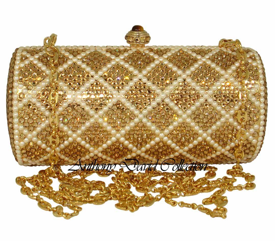 6cb5e51a004 Anthony David Handbag Evening Bag Purse With Swarovski Crystals Gold/Pearl Swarovski  Crystal Clutch Purses, Evening Bags, Leather Purses, Jewelry