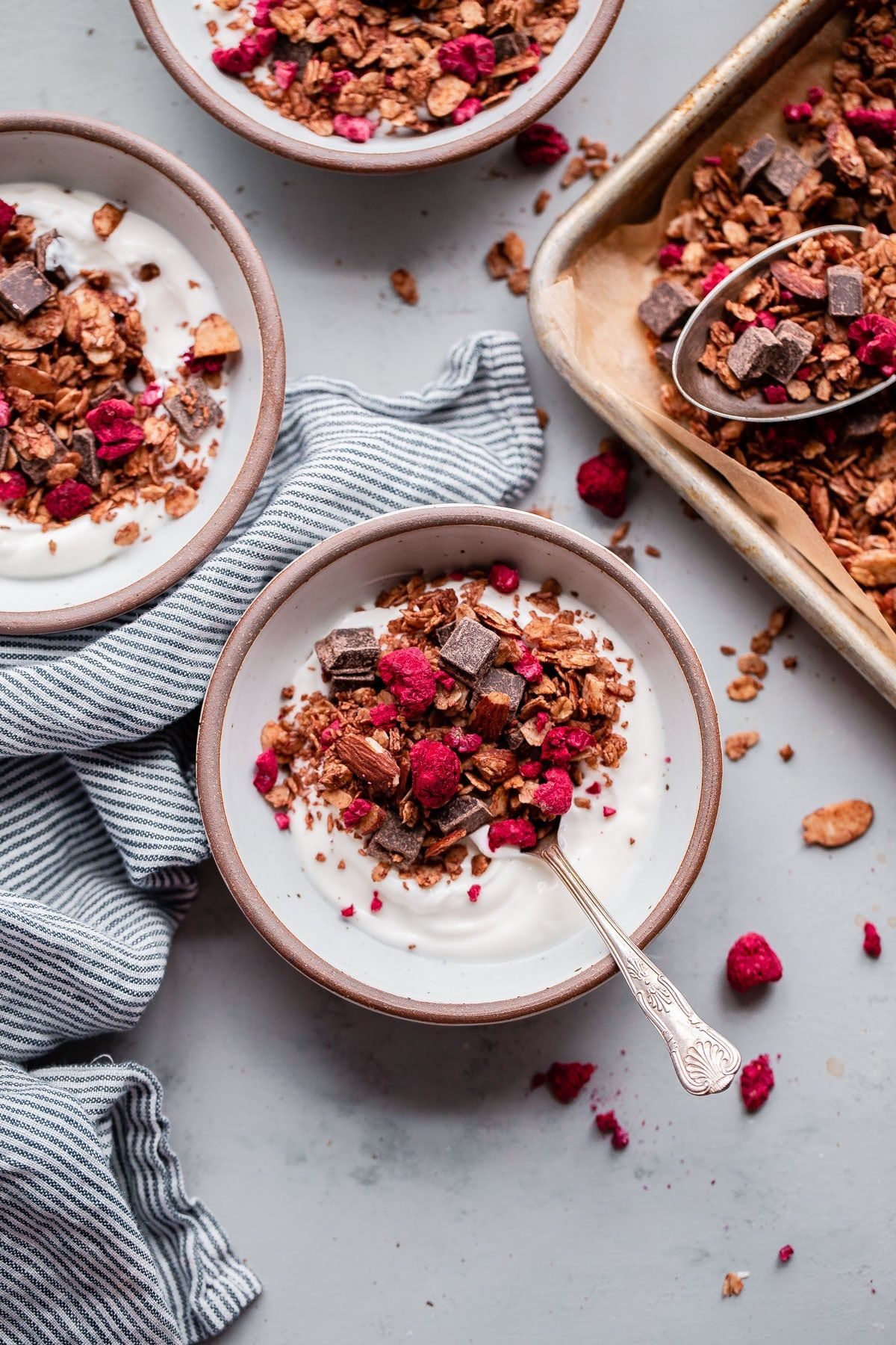 ... chocolate chunk raspberry granola ... #freezedriedraspberries