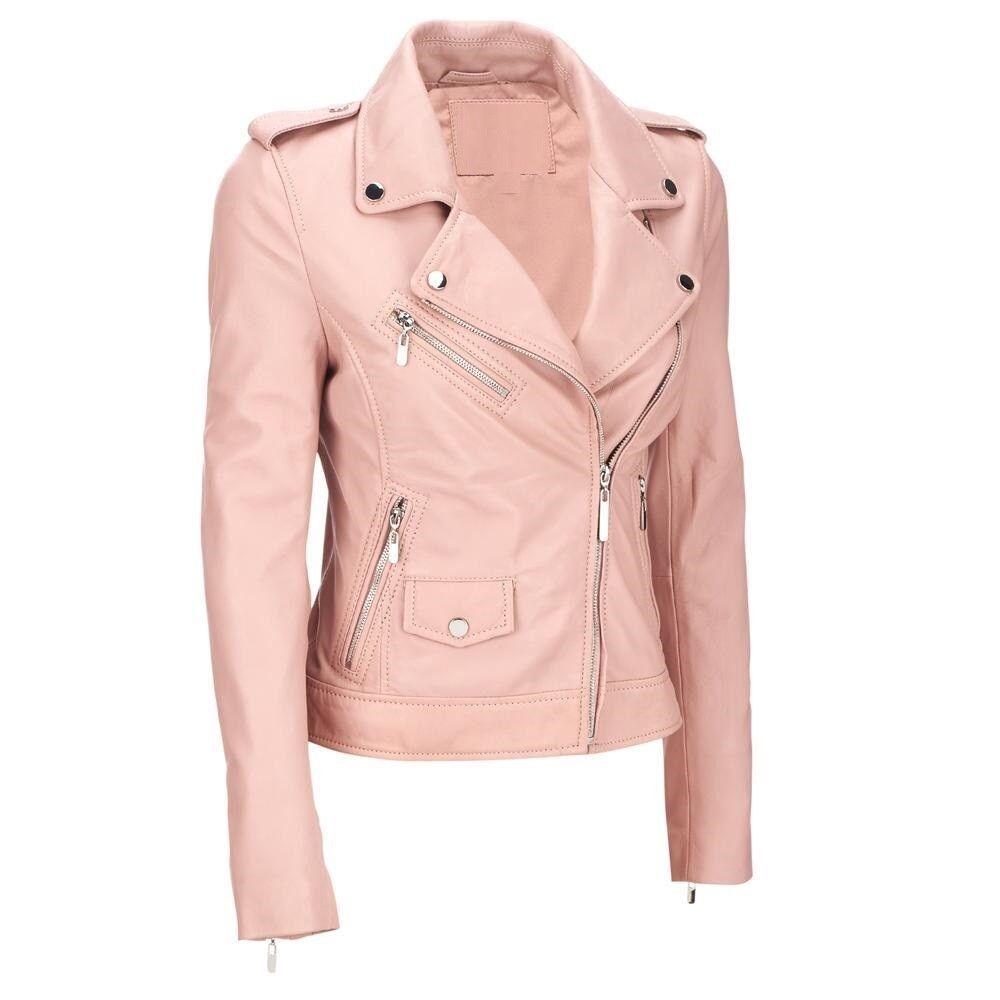 Women S Pink Asymmetrical Leather Jacket Motorcycle Lambskin Biker Coat 386 Pink Leather Jacket Asymmetrical Leather Jacket Leather Jackets Women [ 1000 x 1000 Pixel ]
