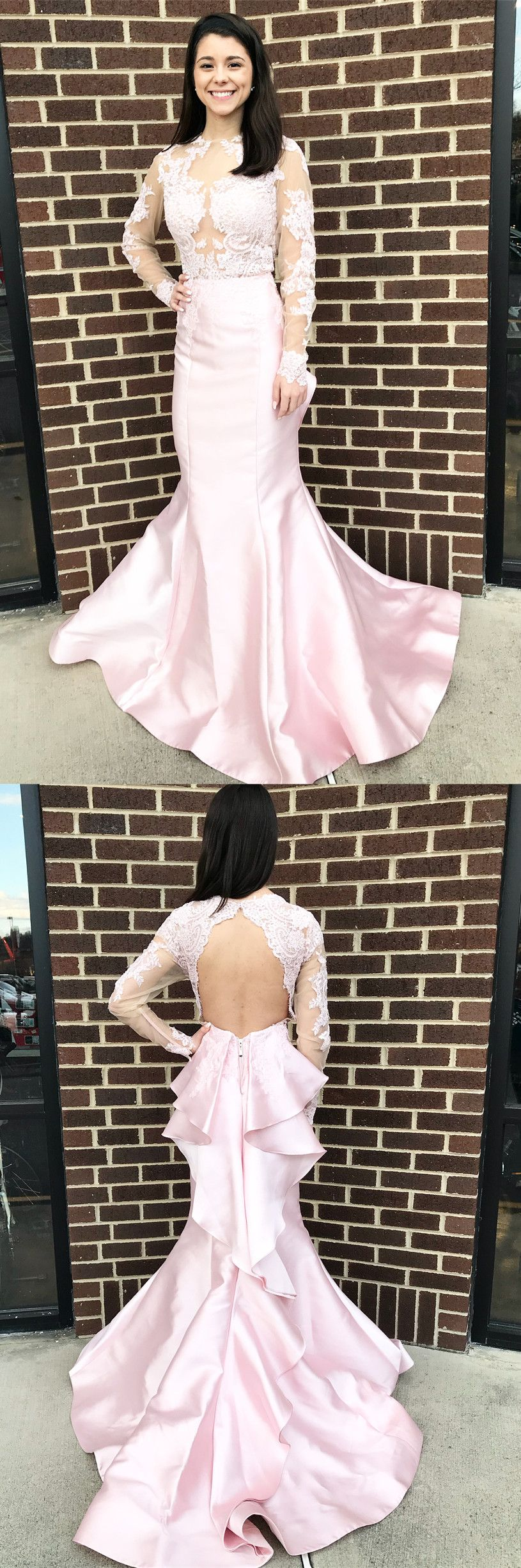 Gorgeous long sleeves pink mermaid long prom dress with backless