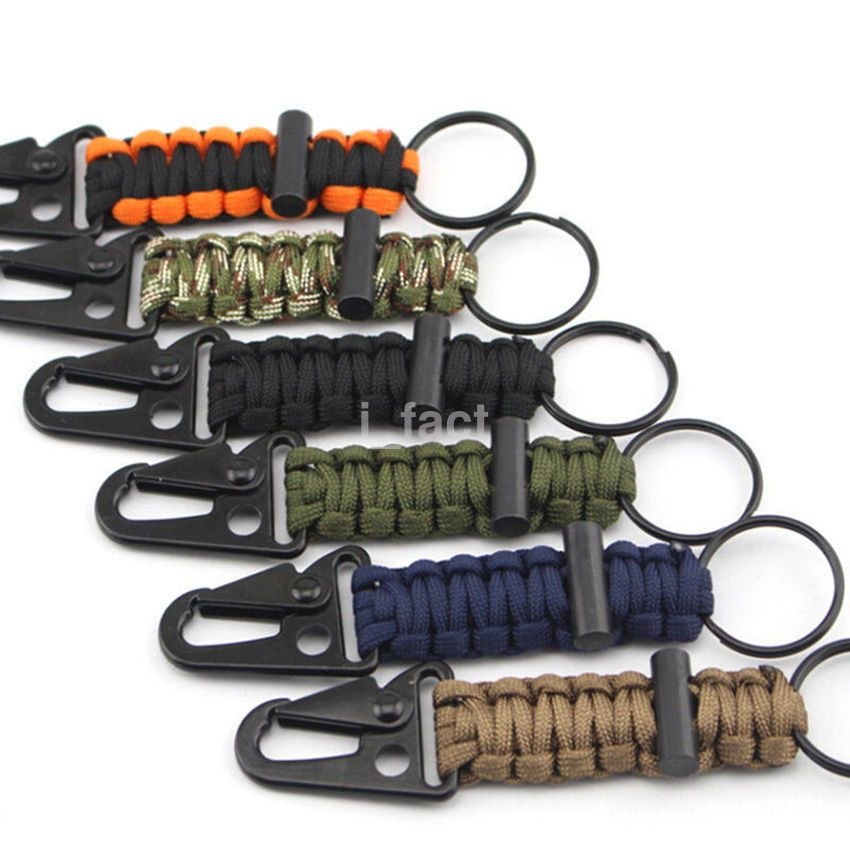 Outdoor Survival Kit Parachute Cord Keychain Paracord Key Chain Bracelets 0U