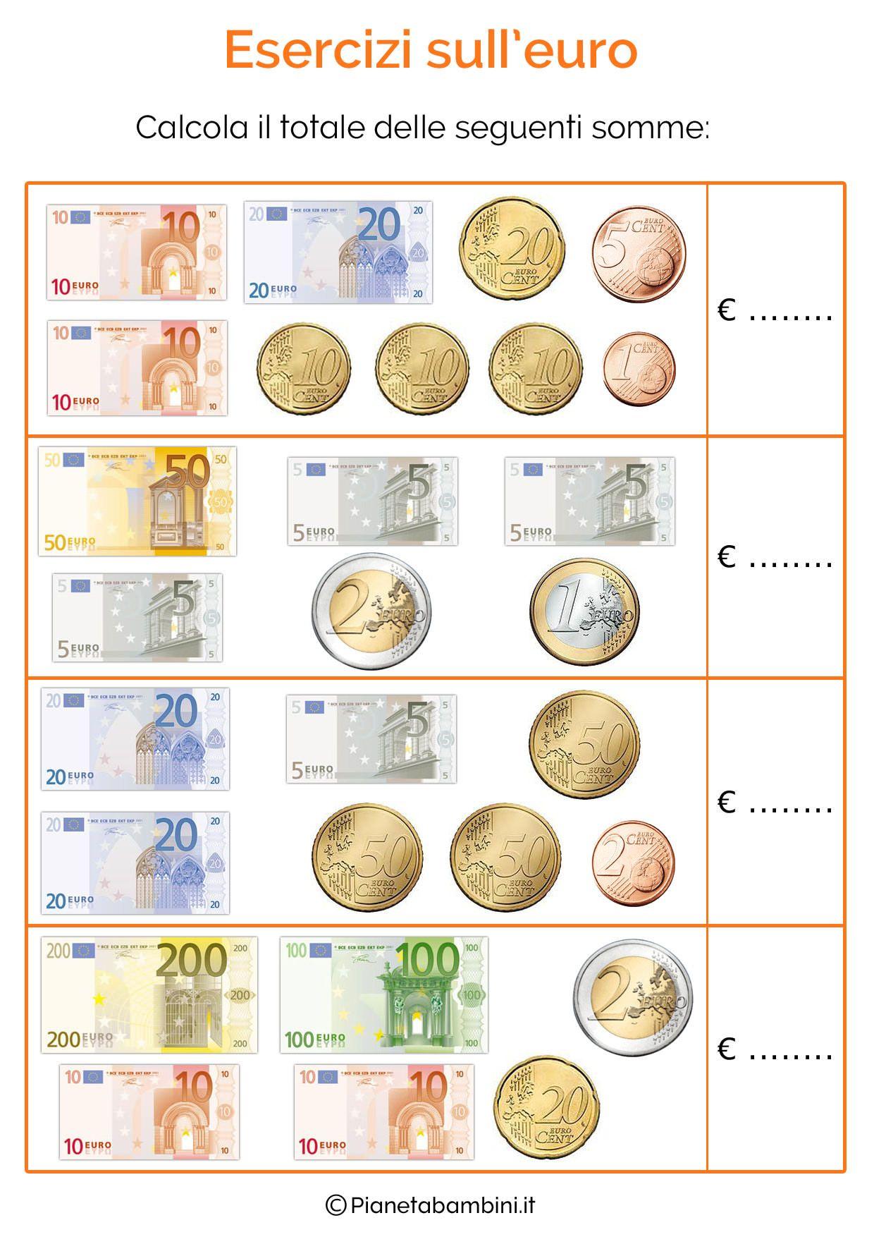 Schede Didattiche Sull Euro Per Bambini Della Scuola Primaria