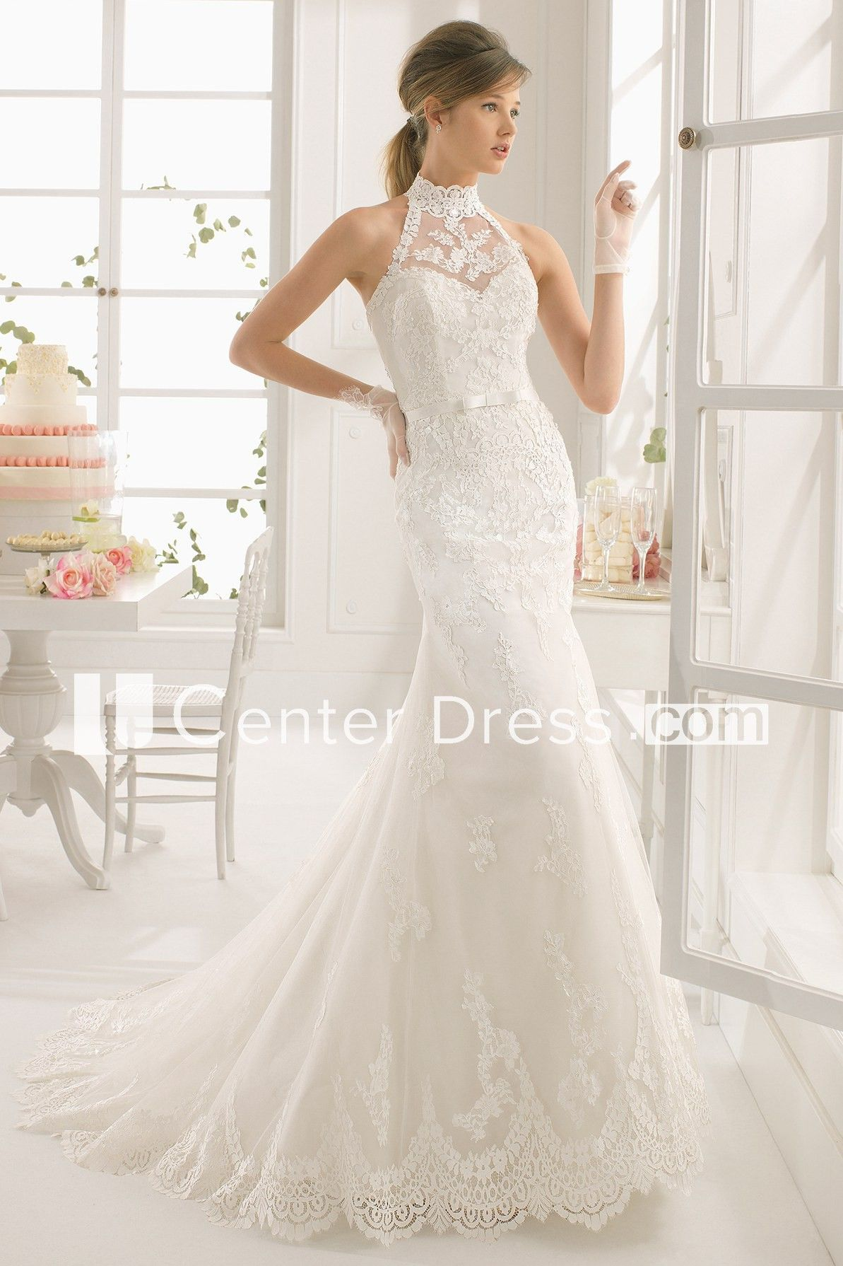 f2f3ce57b74 Sheath High-Neck Maxi Appliqued Sleeveless Lace Wedding Dress - UCenter  Dress