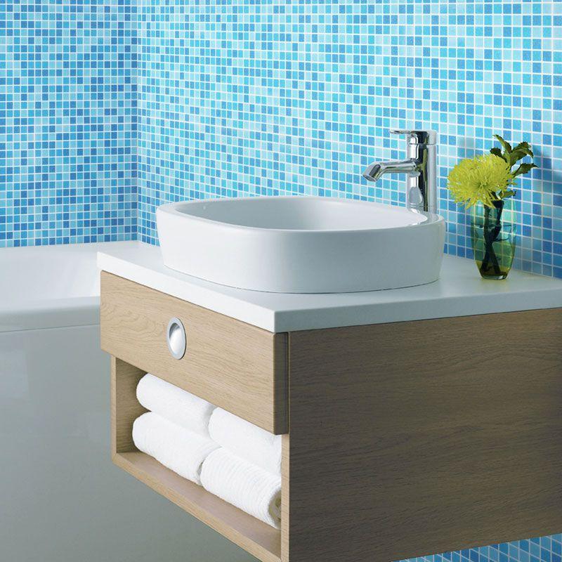 Pas cher Piscine salle de bains verre bleu mosaïque de ...