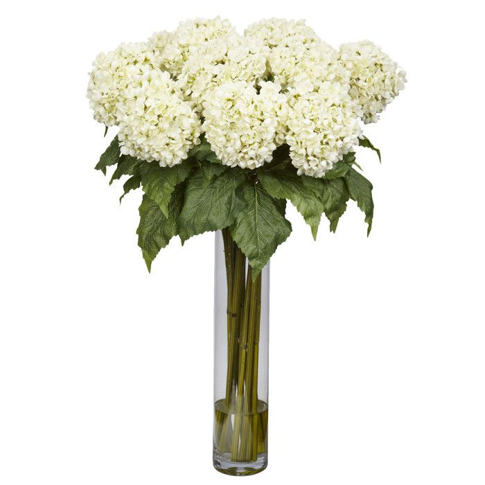 Hydrangea Floral Arrangement In Glass Vase Hydrangea Flower Arrangements Hydrangea Arrangements Silk Hydrangeas Arrangements