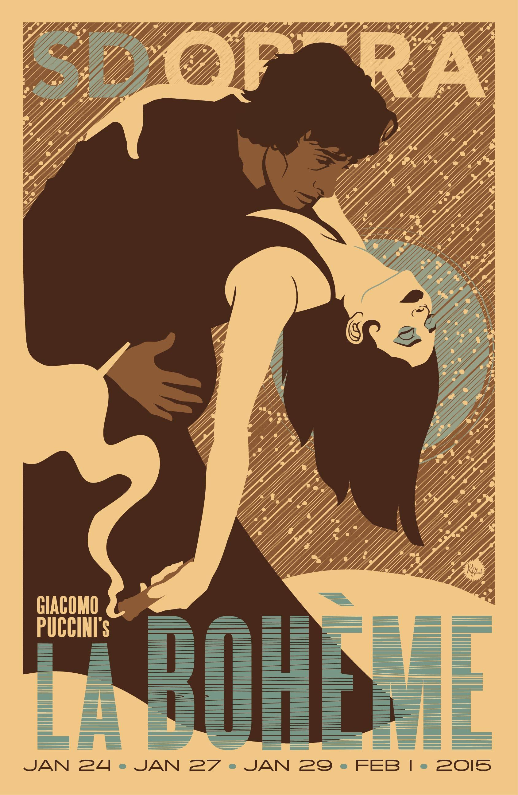 Vintage French Opera Poster La Boheme Poster A3 Print