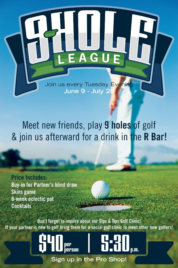 9 hole league at mountaingate country club golf poster flyer