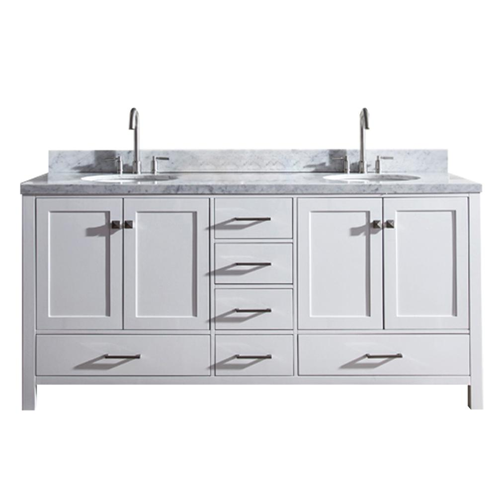 Ariel Cambridge 73 In Bath Vanity In White With Marble Vanity Top In Carrara White With White Basins A073d Vo Wht Double Sink Bathroom Double Sink Bathroom Vanity Double Sink Vanity