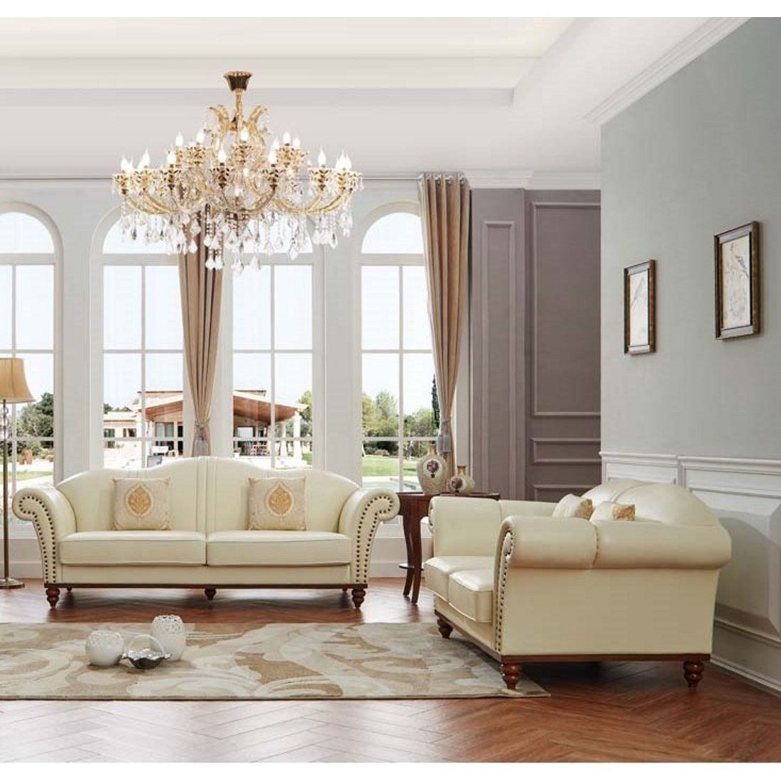 Luca Home Off-White (Beige) Leather 2-Piece Sofa Set (Off White Nail ...