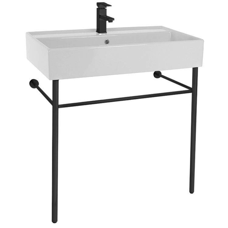 Ceramic Console Sink And Matte Black Stand Console Sink Bathroom Sink Ceramic Bathroom Sink