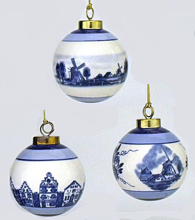 Delightful Delft Blue Christmas Ornaments Part - 3: Set Of 3 Delft Blue And White Ceramic Ball Ornaments