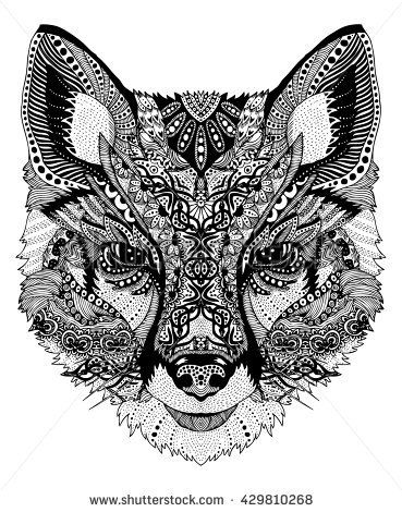 Image Result For Psychedelic Arctic Fox Face Illustration Fotos Vector