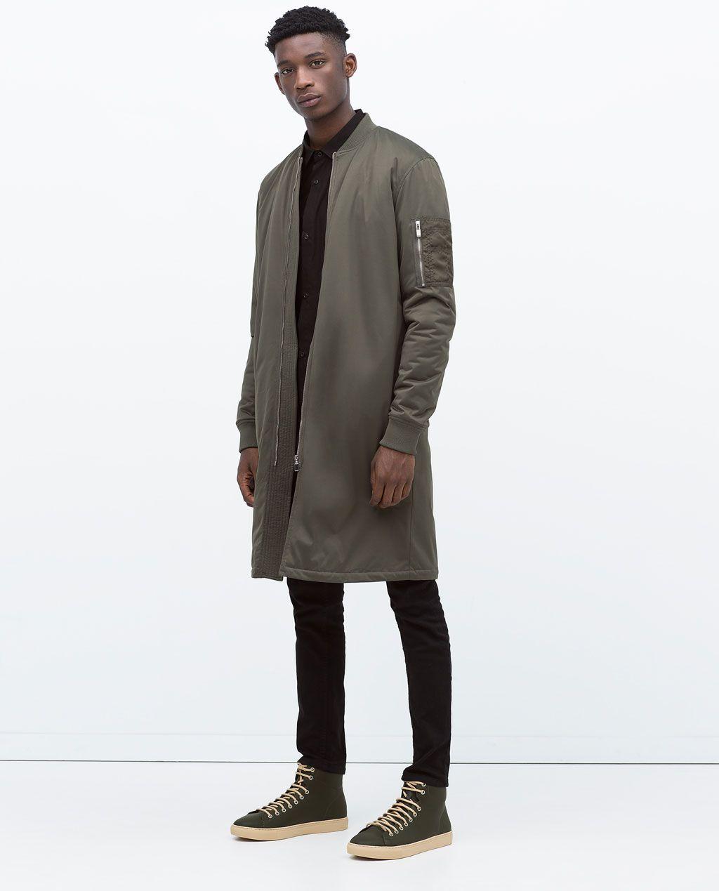 Zara Collection Aw15 Aviator Style Long Jacket Herren Mantel Street Styles Fur Herren Bomberjacke Manner