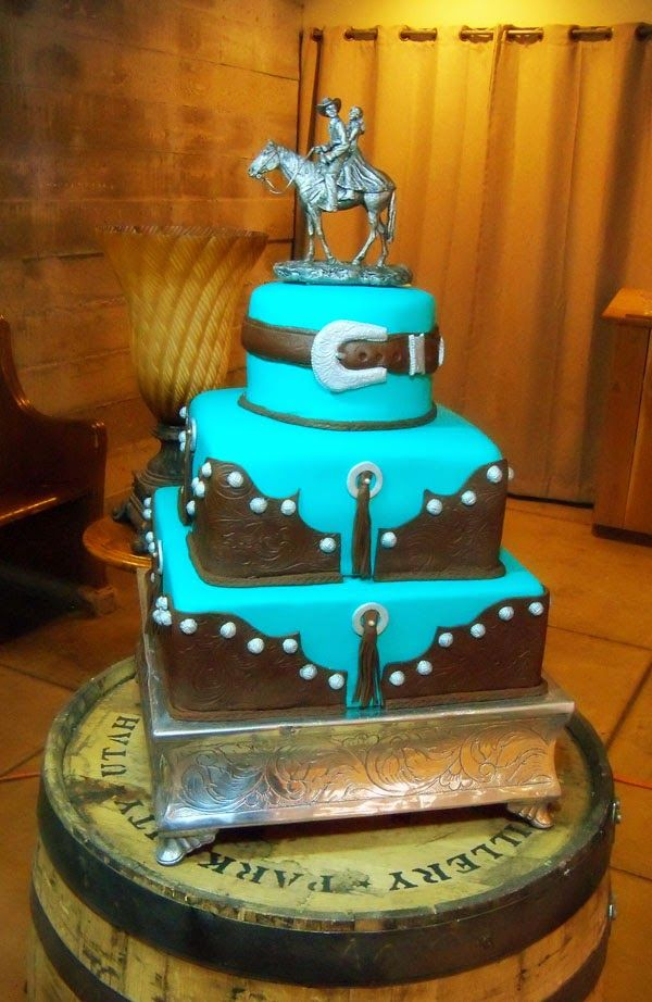 country western wedding cake pictures country chic western theme cake turquoise and brown 13014