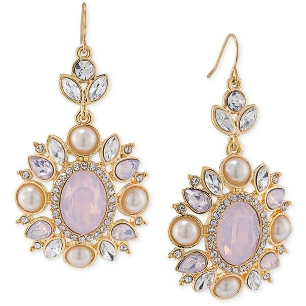 Carolee gold tone crystal and imitation pink pearl chandelier carolee gold tone crystal and imitation pink pearl chandelier earrings 75 liked aloadofball Image collections