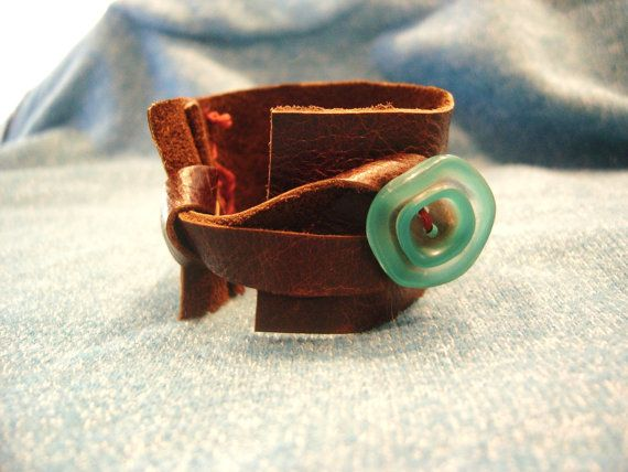 Leather bracelet with blue button by earthstonesea on Etsy, $20.00