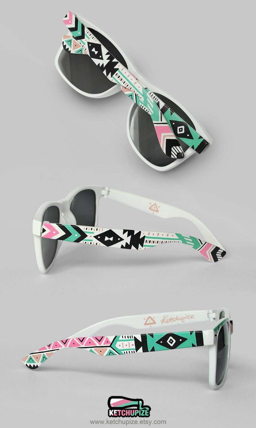 Gift for her Women sunglasses festival unique personalized bridesmaid gift for girlfriend Aztec trend fashion tribal shades geometric pastel