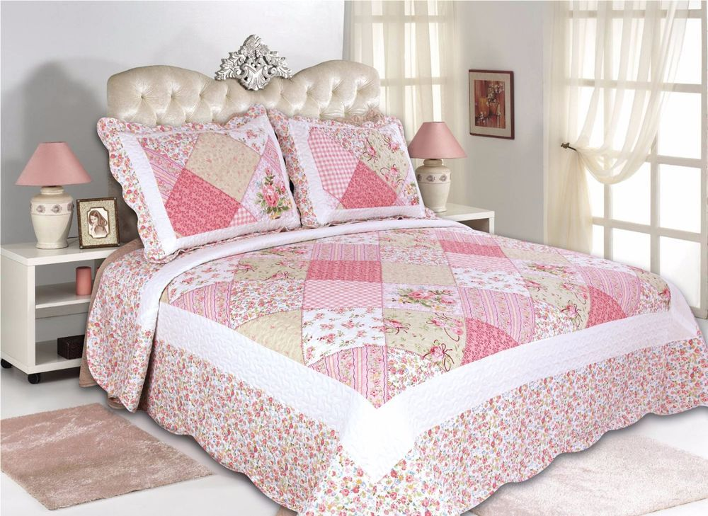 coverlet-reversible-flowers-4 SIZES 41-42 All For You 3PC quilt set bedspread