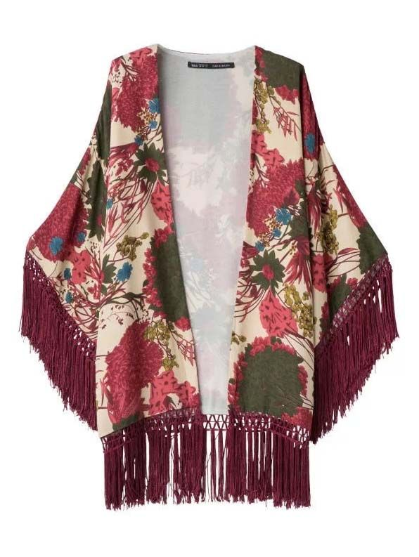 Ladies fashion vintage tassels decorated kimono slip-on