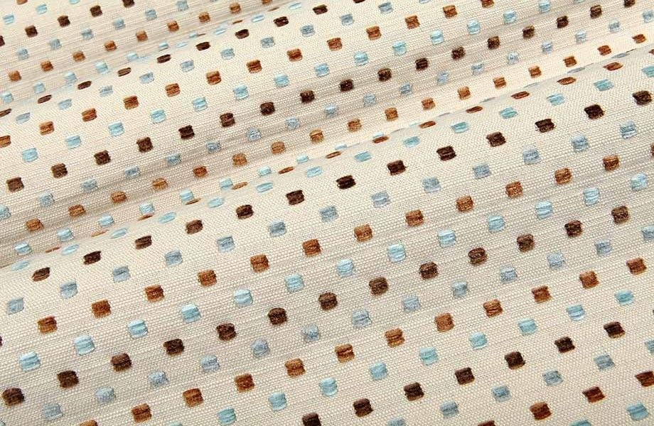 Square Up in Glass is a tan and blue square pattern upholstery fabric with shades of soft brown and light blue and a textured hand created with soft chenille yarns. Perfect for contemporary design styles, this durable fabric is available in a wide variety of color combinations.