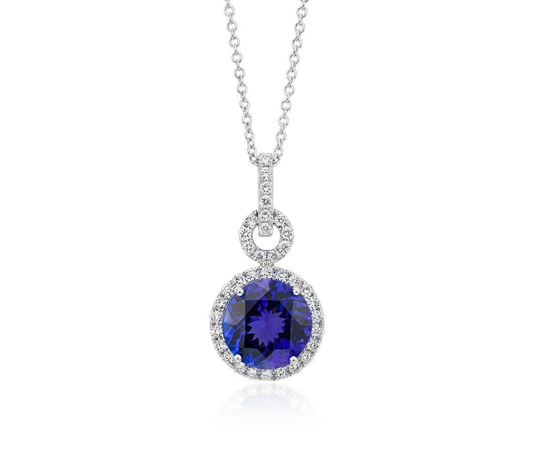 Tanzanite and diamond halo pendant in 18k white gold 10mm diamond tanzanite and diamond halo pendant in 18k white gold 10mm aloadofball Gallery