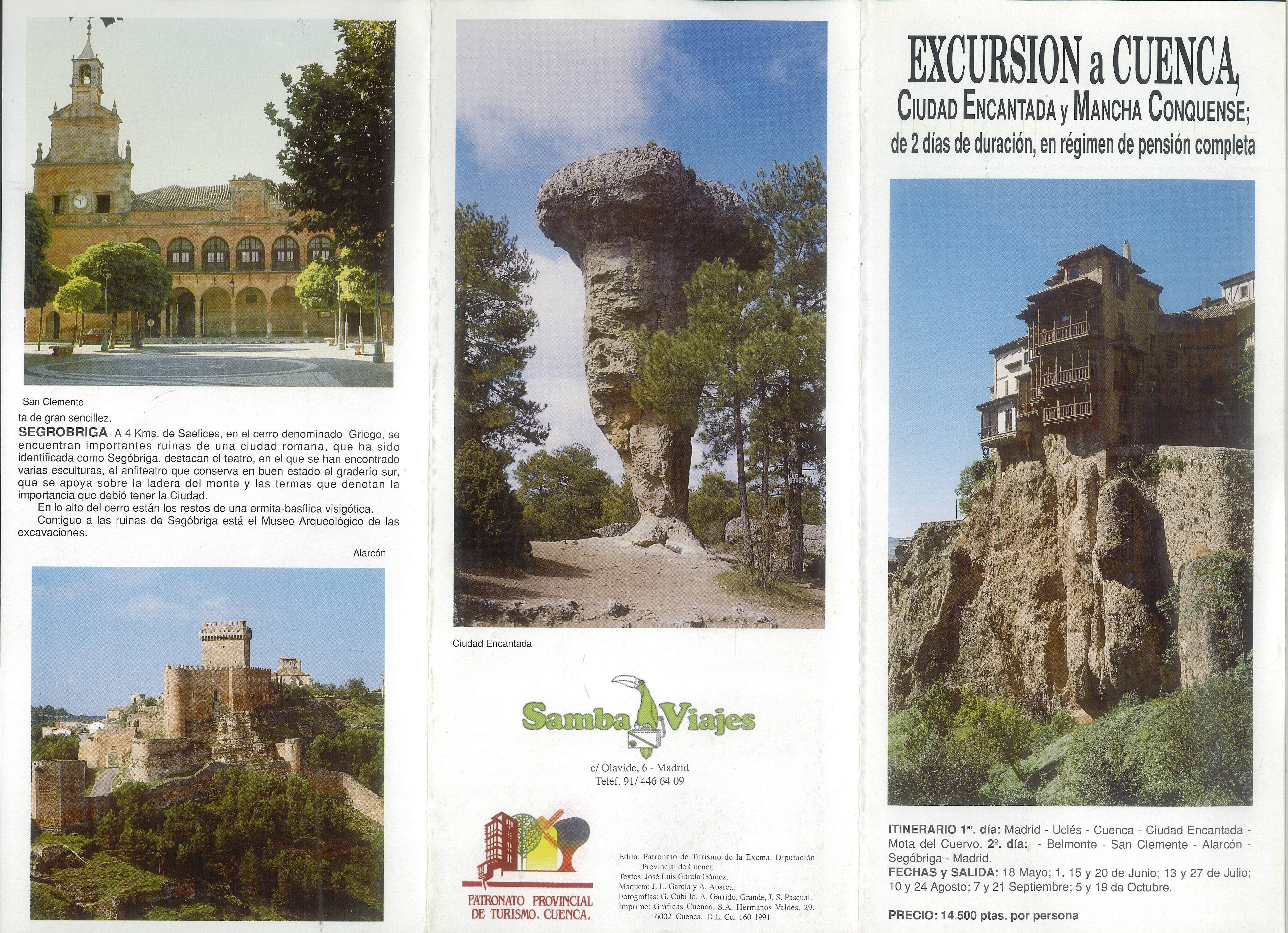Folleto Turístico De Cuenca Con Propuesta De Excursión A Cuenca En 2 Días Patronato Provincial De Turismo De La Diputación Natural Landmarks Travel Landmarks