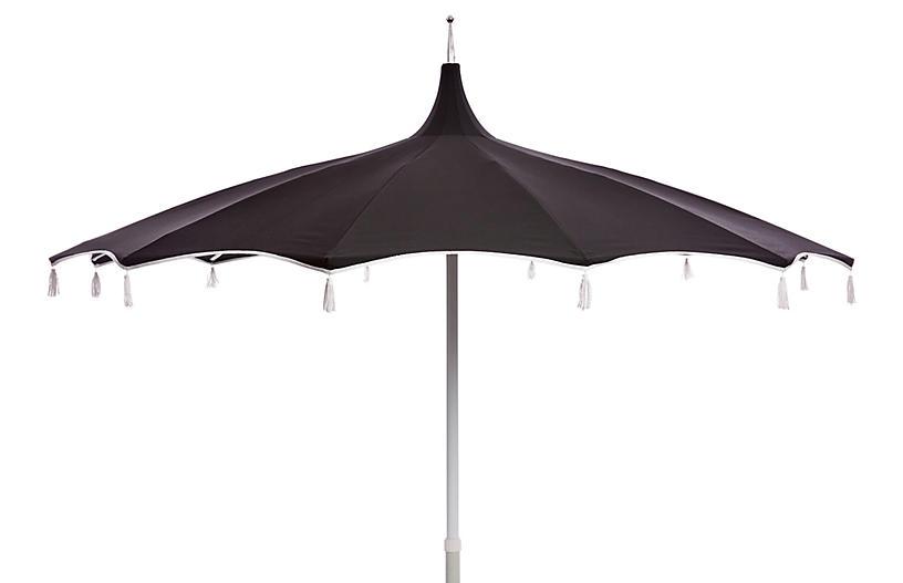 One Kings Lane Rena Pagoda Tassel Patio Umbrella   Black/White