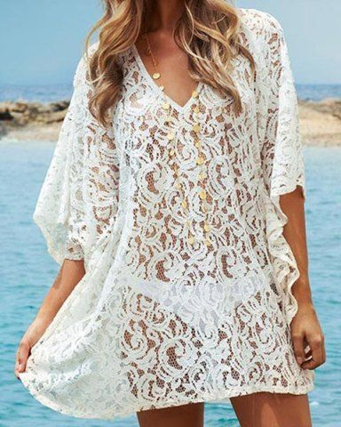 eba25b81f430 Sexy V-Neck 3 4 Sleeve Solid Color Hollow Out Women s Cover Up Swimwear