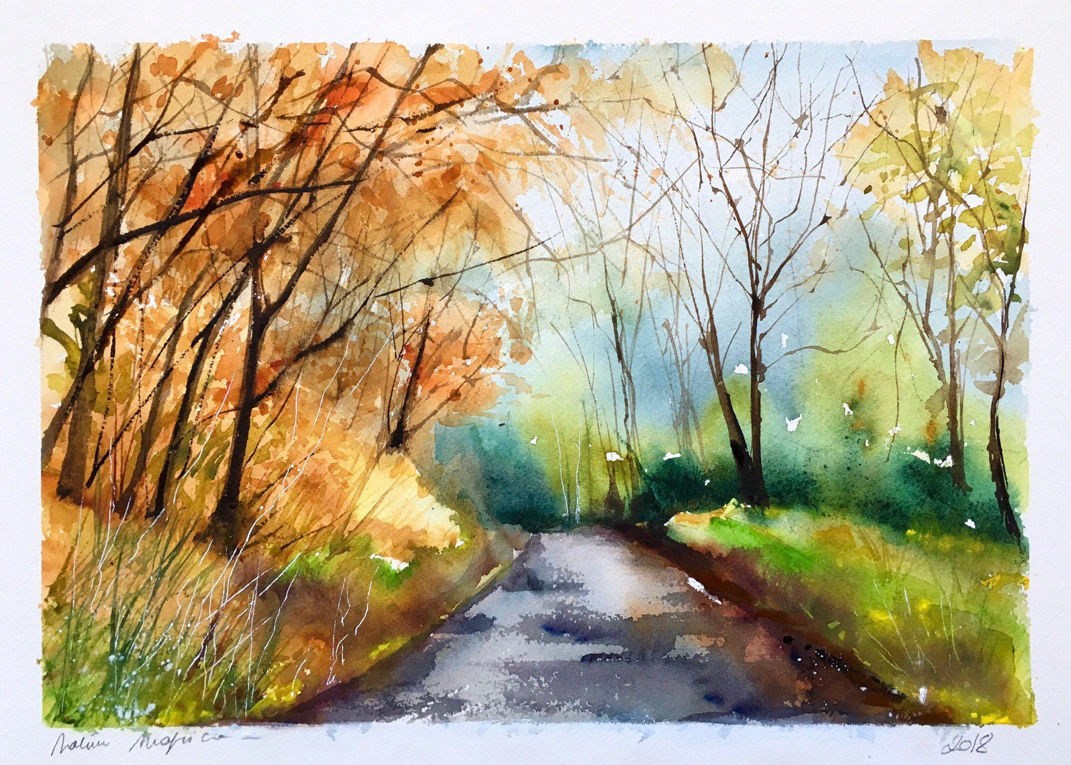 Aquarelle Peinture Originale Route En Foret L Automne Woodland