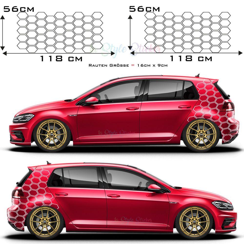 Aufkleber Sechseck Auto Seitenaufkleber Wabe Raute Motiv Car