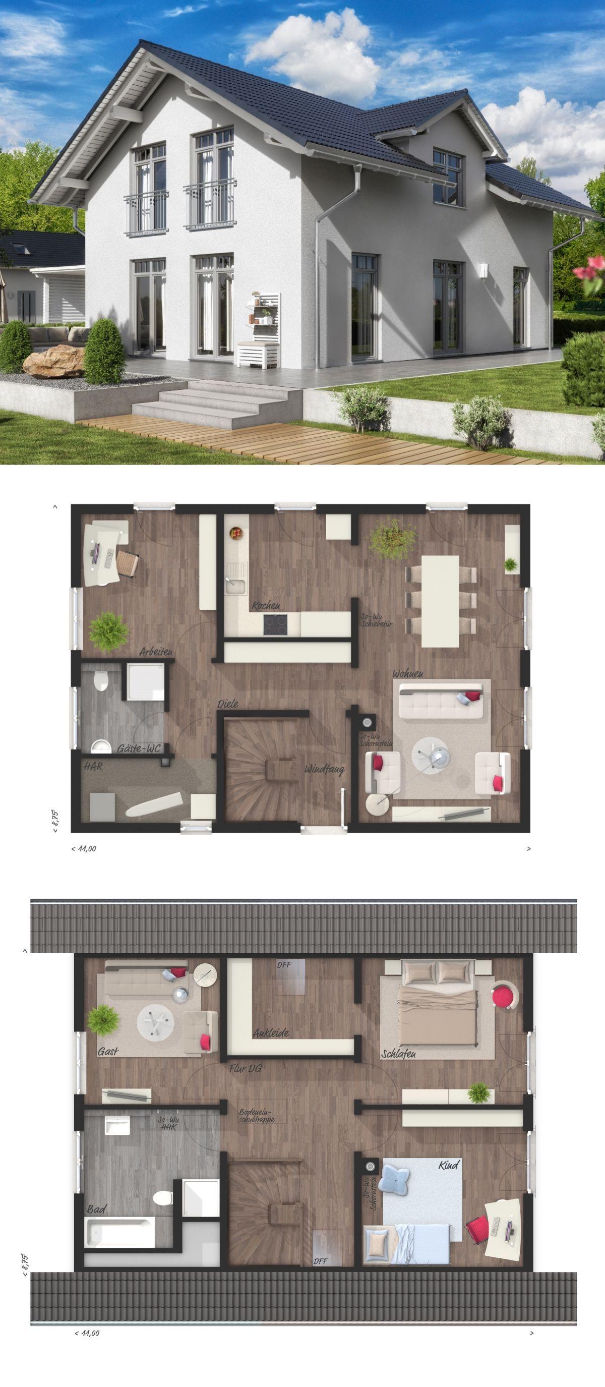 Haus flur design-ideen modernes haus grundriss mit satteldach architektur u zwerchgiebel