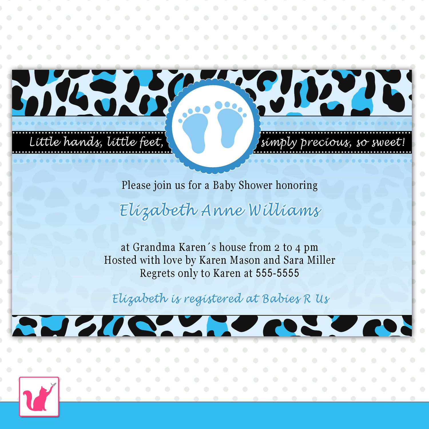 Leopard Baby Shower Invitations Baby Shower Invitation Cards Blue ...
