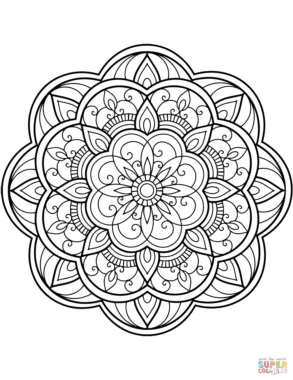 Cijfers Mandala Kleurplaten.Blomster Mandala Tegninger Mandala S