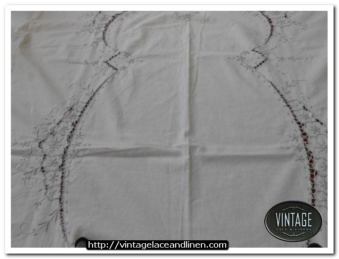 Retro tablecloth with gray embroidery