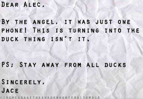 Jace to Alec (Laughing my ass off...the Herondale boys and their ducks)