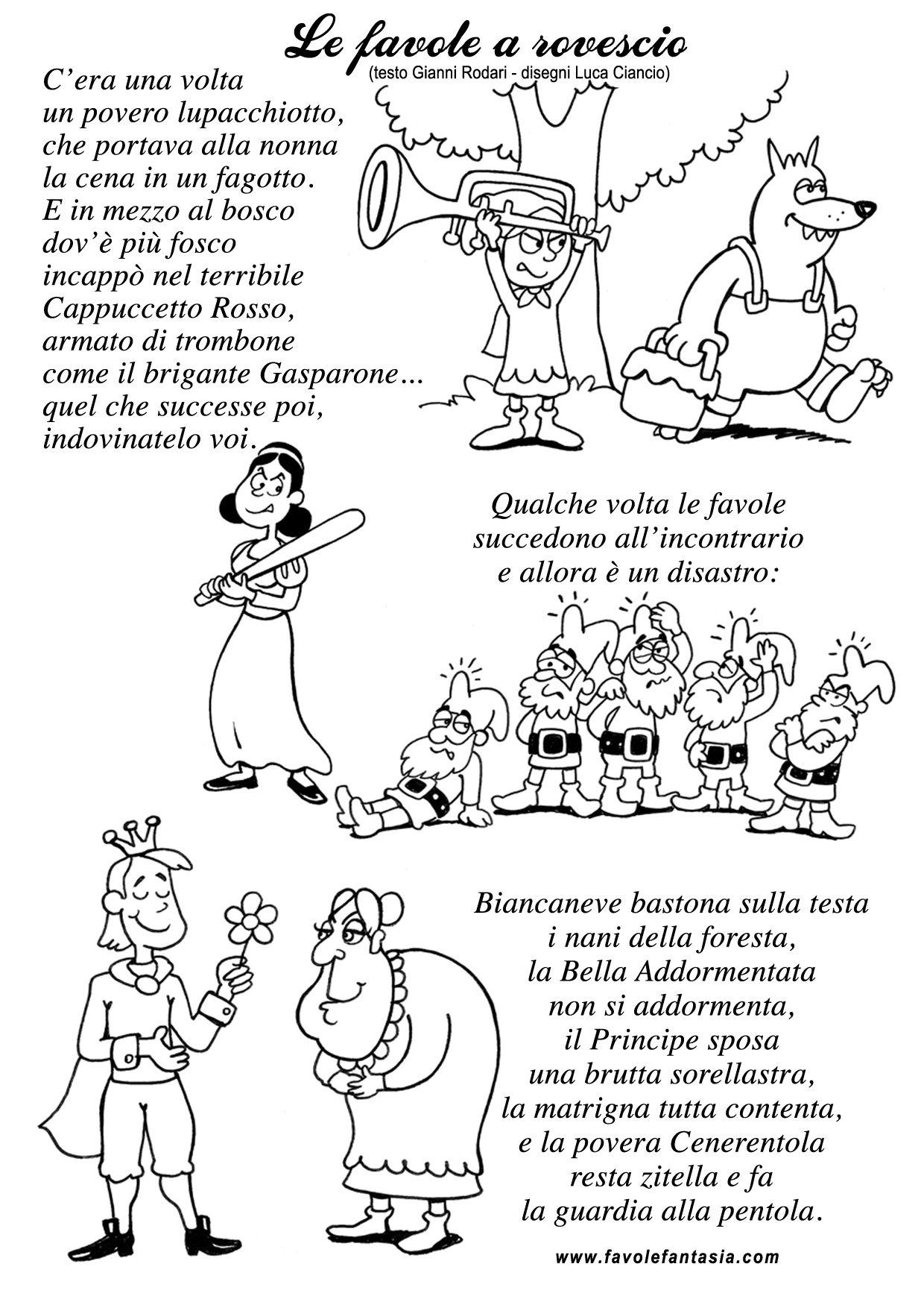 Favole A Rovescio Rodari Con Immagini Filastrocche Le Idee Della Scuola Scuola