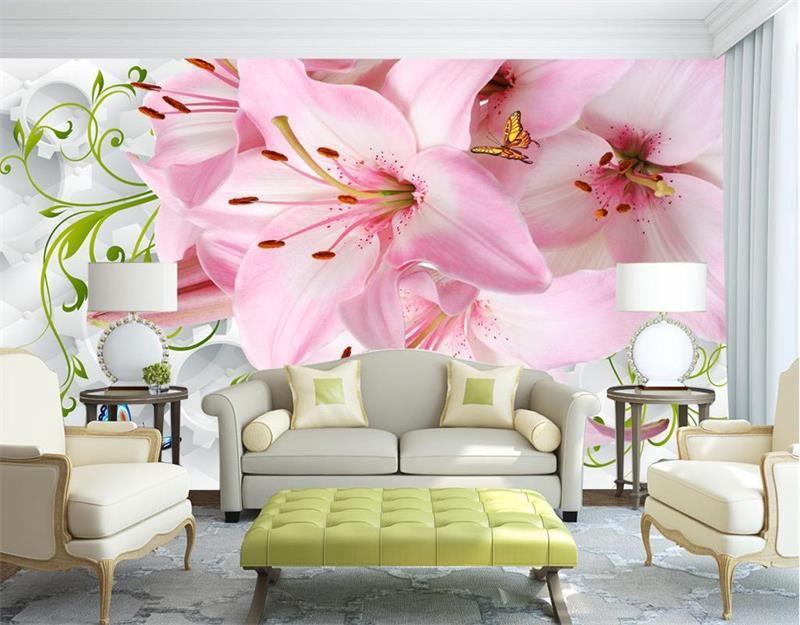 3d room wallpaper custom photo non-woven wallpaper mural Lily ...