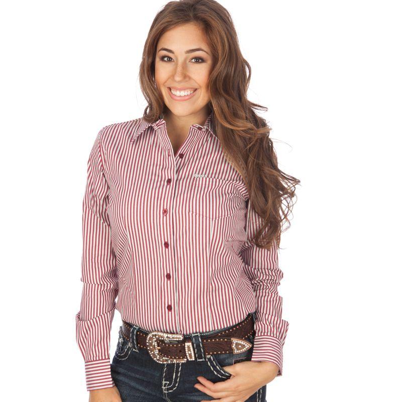 d5f8197c7 Women's Cruel Girl Wine and White Stripe Buttondown Shirt   clothes ...