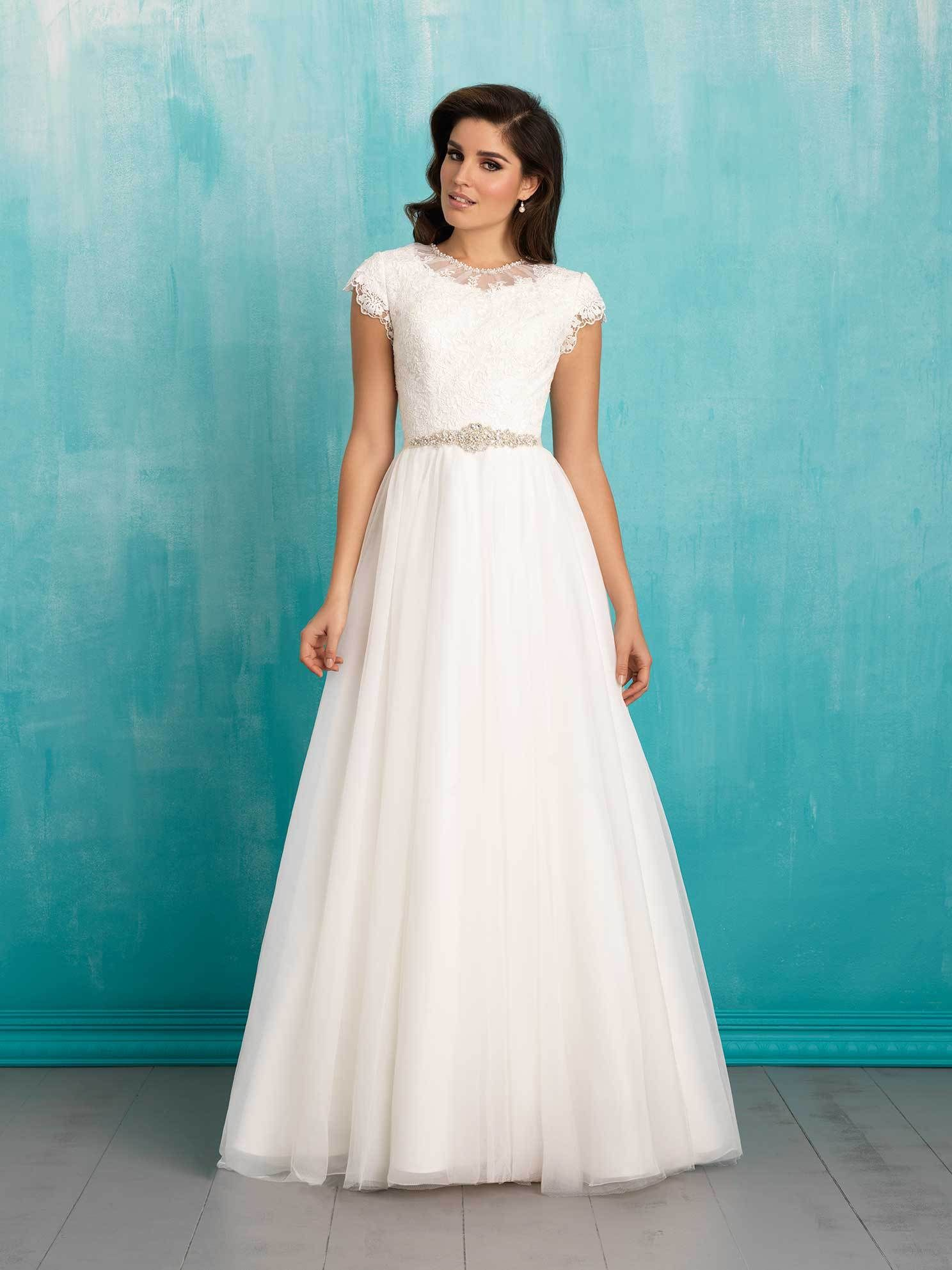 25 Modest Wedding Dresses with Short Sleeves | LDS Wedding | Wedding ...